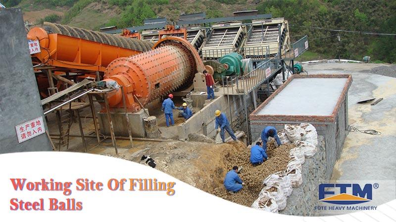 Working site of ball mill grinding media refilling.jpg